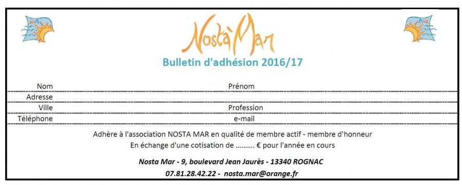 Bulletin adhésion 2016-17
