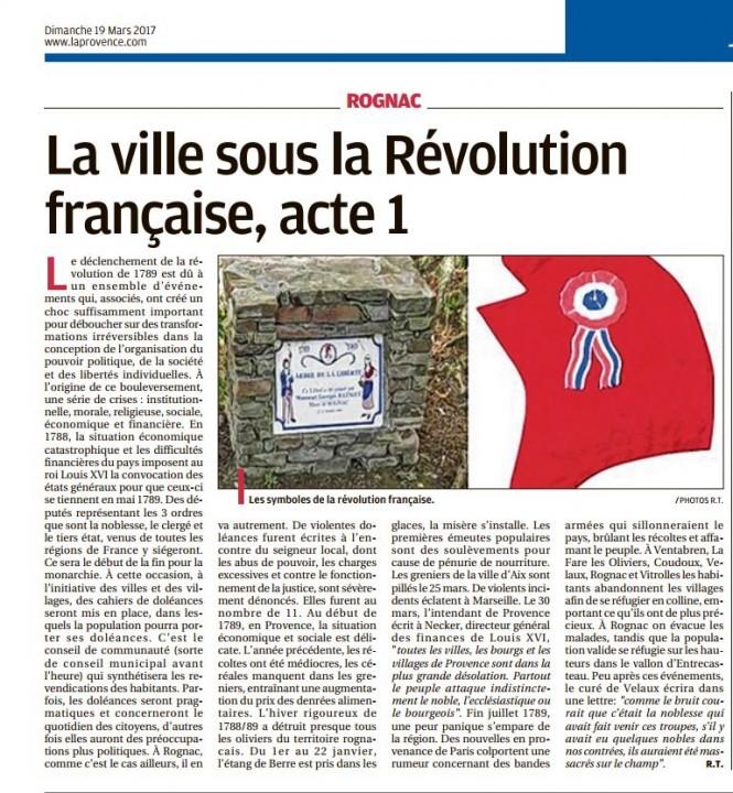 Chroniques de l'histoire de Rognac 190317